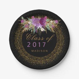 Chic Graduation Floral Gold Sparkle Confetti Black Paper Plate