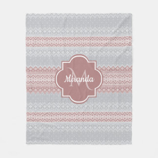 Chic Gray and Dusky Pink Knit Stripes and Monogram Fleece Blanket