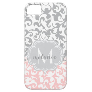 Chic Gray and Pink Damask Swirls Monogram Case For The iPhone 5