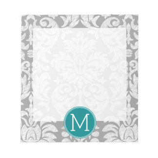 Chic Gray and Teal Damask Pattern Custom Monogram Notepad