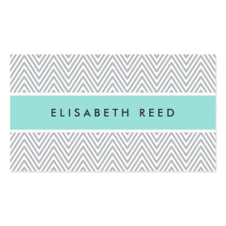 Chic gray chevrons aqua blue professional profile pack of standard business cards