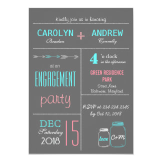 Chic Gray | Pink | Blue MasonJar Engagement Party 13 Cm X 18 Cm Invitation Card
