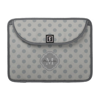 Chic Gray Polka Dots with Your Monogram Sleeves For MacBook Pro