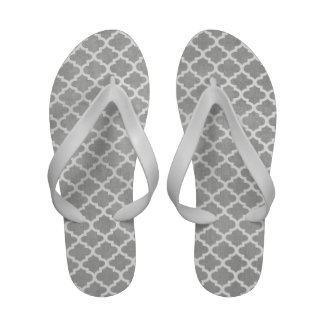 Chic Gray White Damask Flip Flops