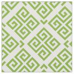 Chic green and white greek key geometric patterns fabric