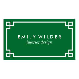 Chic Green and White Greek Key Pack Of Standard Business Cards