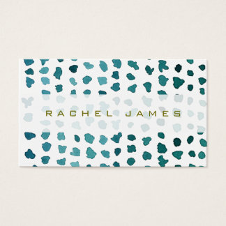 Chic Green and White Watercolor Dots Business Card