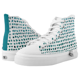 Chic Green and White Watercolor Dots High Tops