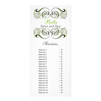 chic green , black and white Services rack card