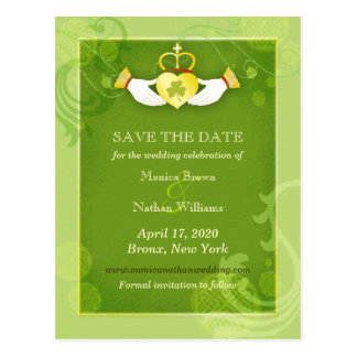 Chic Green Irish Wedding Save the Date Postcard