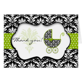 Chic Green Polka Dot Damask Baby Shower Thank You Card