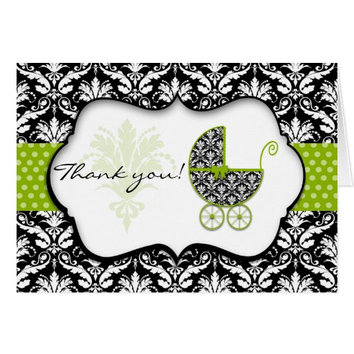 Chic Green Polka Dot Damask Baby Shower Thank You Greeting Cards