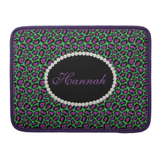 Chic Green & Purp Leopard  Print Monogram Macbook Sleeve For MacBooks