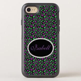 Chic Green & Purple Leopard Print Monogram Case