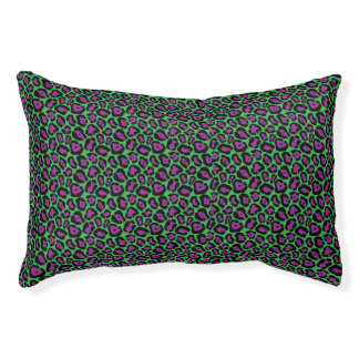 Chic Green & Purple Leopard Print Pattern Pet Bed