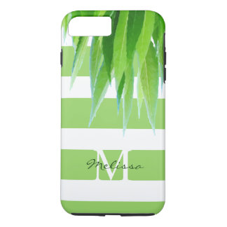 Chic Green Stripes Monogram With Green Leaves iPhone 7 Plus Case