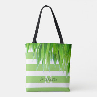 Chic Green Stripes Monogram With Green Leaves Tote Bag