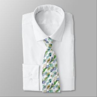 Chic Green Taupe Violet Teal Brown Leaves Pattern Tie