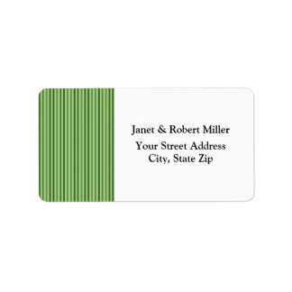 Chic Green Vertical  Stripes Address Label