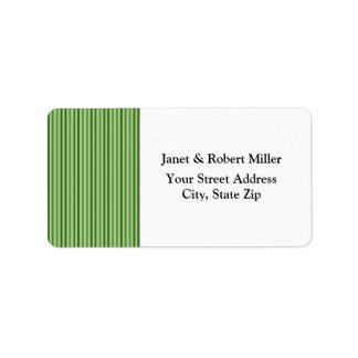 Chic Green Vertical  Stripes Address Label