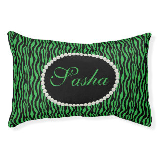 Chic Green Zebra Print Pattern Name Monogram Pet Bed