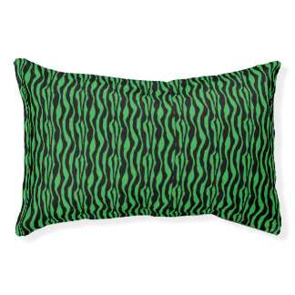 Chic Green Zebra Print Pattern Pet Bed