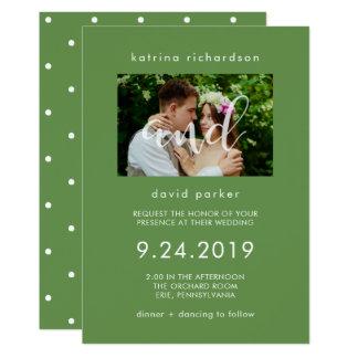Chic Greenery   Photo Wedding Invitation
