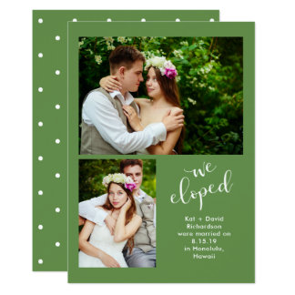 Chic Greenery   Two Photo We Eloped Announcement