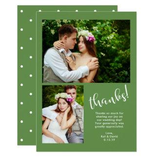 Chic Greenery   Two Photo Wedding Thank You Card