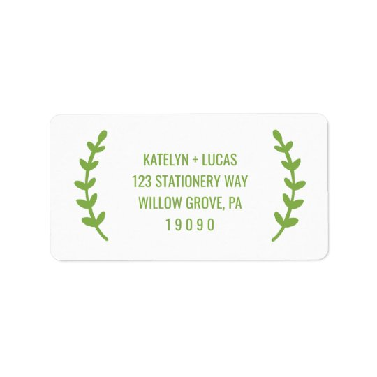 Chic Greenery Wreath Wedding Address Label