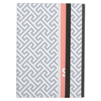 Chic grey abstract geometric pattern monogram iPad air case