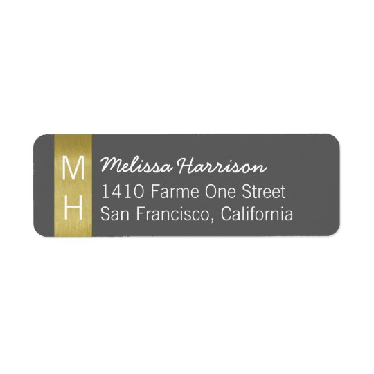 chic grey address label with her script name