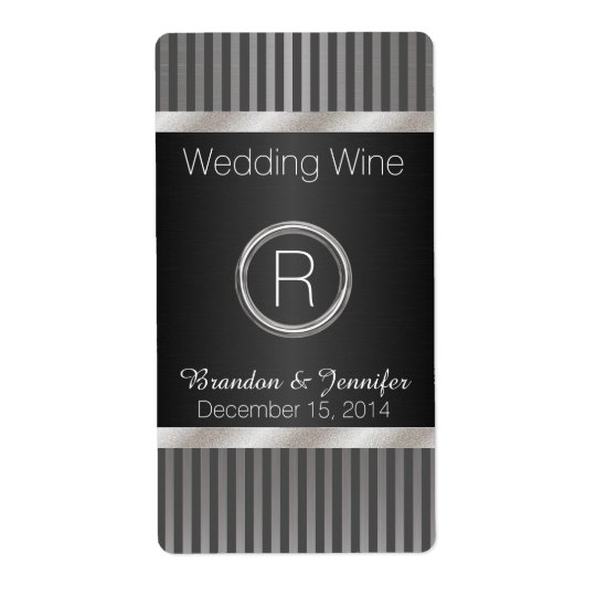 Chic Grey and Silver Wedding Mini Wine Labels