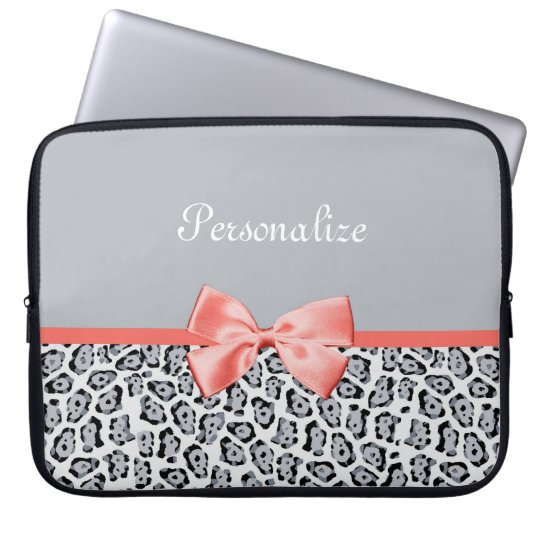 Chic Grey Jaguar Print With Coral Bow and Name Laptop Sleeve