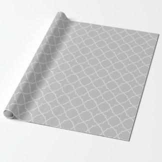 Chic grey quatrefoil trellis pattern wrappingpaper