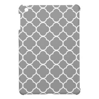 Chic Grey & White Quatrefoil Custom iPad Mini Case