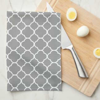 Chic Grey & White Quatrefoil Kitchen Towel
