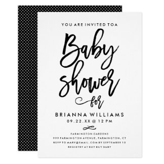 Chic Hand Lettered Baby Shower 13 Cm X 18 Cm Invitation Card