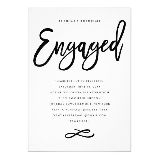 Chic Hand Lettered Engagement Party Invitation Zazzlecomau