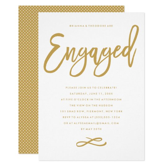 Chic hand lettered engagement party invitation zazzlecomau for Hand lettered invitations