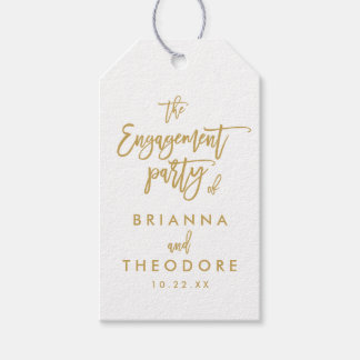 Chic Hand Lettered Gold Engagement Gift Tag