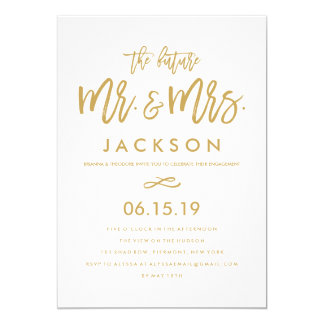 Chic Hand Lettered Gold Engagement Party 13 Cm X 18 Cm Invitation Card