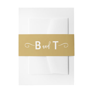 Chic Hand Lettered Gold Invitation Belly Band