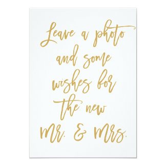 Chic Hand Lettered Gold Photo and Wishes 13 Cm X 18 Cm Invitation Card