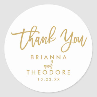 Chic Hand Lettered Gold Thank You Favor Label Round Sticker