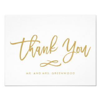 Chic Hand Lettered Gold Thank You Flat Card 11 Cm X 14 Cm Invitation Card