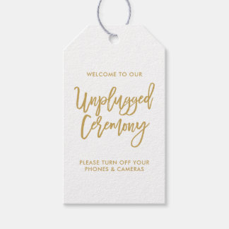 Chic Hand Lettered Gold Unplugged Ceremony Tag