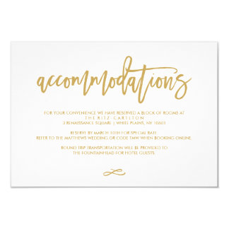 Chic Hand Lettered Gold Wedding Accommodations Card