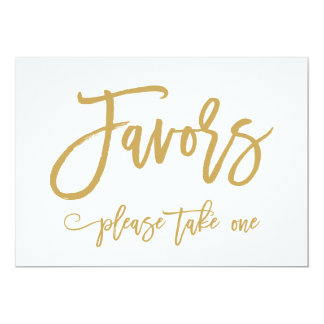 Chic Hand Lettered Gold Wedding Favors Sign Card