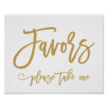 Chic Hand Lettered Gold Wedding Favours Sign